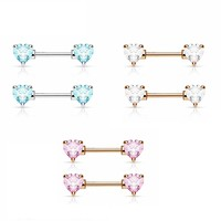 Nipple Ring Heart Rose Gold Double Front Facing Heart CZ Prong set 316L Surgical Steel Nipple Bar