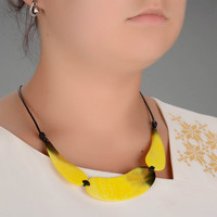 Author's necklace made of cow horn