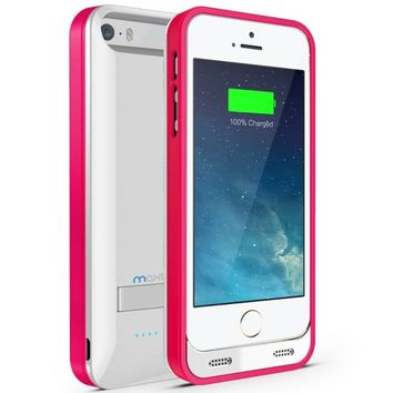 Maxboost External Protective 2400mAh Charging Battery Case for iPhone 5 - Glossy White/Pink