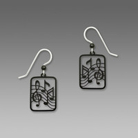 Sienna Sky Earrings - Black Treble Clef and Notes