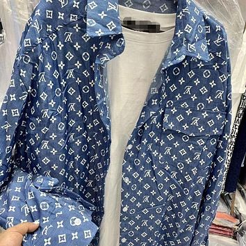 LV Louis Vuitton Letter Jacquard Loose and Thin Long Sleeve Mid-length Shirt Blue