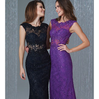 Preorder - Madison James 16-378 Black Sheer Paneled Lace Gown 2015 Homecoming Dresses