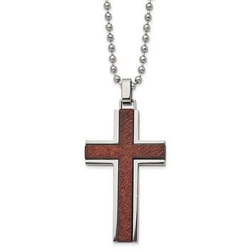 """Stainless Steel Polished With Wood Inlay Cross 22"""" Necklace"""