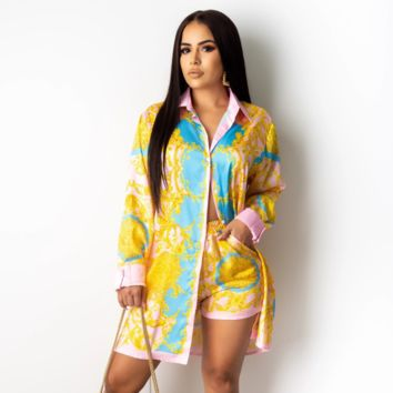 Versace Fashion Women Long Sleeved Lapel Shirt Shorts Top