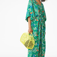 V-necked kaftan dress - Green parrot print - Dresses - Monki GB