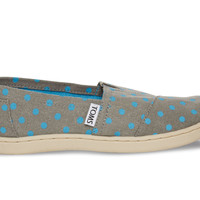 TOMS Grey Blue Small Dot Youth Classics Blue