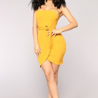 Ofelia Belted Dress - Mustard