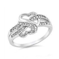 Sterling Silver CZ Two Hearts Infinity Ring