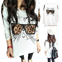 Fashion Womens Girls Leopard Bespectacled Cat Crew Neck Long Sleeve T-Shirt Tops Blouse (Size: M, Color: White) = 1929546692