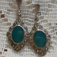 Vintage Sterling Silver with Marcasite and Green Glass Stone Dangle Earrings