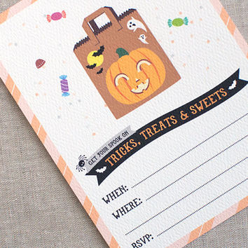 Spooky Halloween Invitations Set - Printed Kawaii Bag of Candy Recycled Halloween Birthday Party Invites Fill In Format Adult Kids Halloween