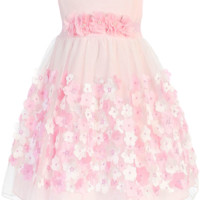 Girls Pink Mesh Overlay Dress Taffeta & Chiffon Flowers 0-24m