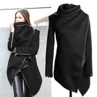 Ladies Women Zipper Woolen Warm Long Coat Trench Windbreaker Jacket Parka Blazer 7_S [8384273927]