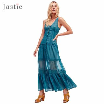 Victoria Buttonfront Maxi Dress V-Neck Sexy Women Dresses Patchwork Crochet Lace Ruffle Tiered and Slit at Front Hem