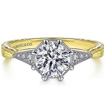 Gabriel Art Deco Inspired Two-Tone Diamond Engagement Ring