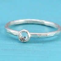 Crystal ring,  sterling silver, promise ring, stacking ring, 4 mm Swarovski crystal, April birthstone, handmade, Christmas gift for her