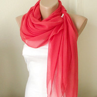 Red Grenadine Red  Cotton Dark Blue Spring Scarf by Periay on Etsy
