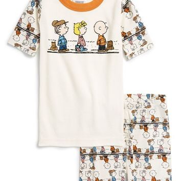 Boy's Hanna Andersson 'Peanuts' Organic Cotton Two-Piece Fitted Pajamas,
