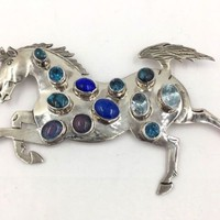 Vintage Mexico Taxco Sterling Silver Horse Pin Brooch