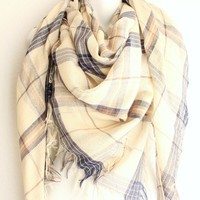 Plaid Woven Handkerchief Scarf Fall Scarf for women in Beige & Navy Square Scarf with Raw Fringe Edges