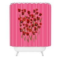Joy Laforme Pansies in Red and Pink Shower Curtain