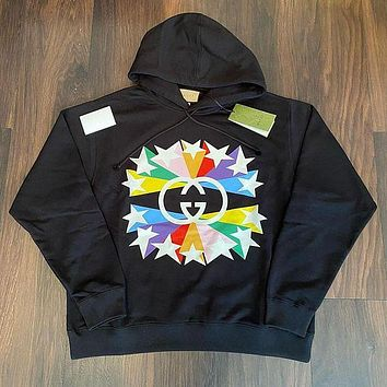 DIOR GG Double g color Pentagram ⭐ Couple Hooded Sweater