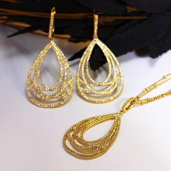 Women Necklace Earrings Sets Setting with Cubic Zirconia Gold Color Jewelry Set