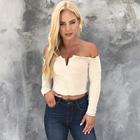 There Is Always Us Cream Off Shoulder Crop Top