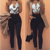 Grey Backless Cross Crop Top