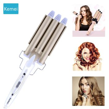 Kemei hair care & styling tools curler iron hair curling irons rotating style curl hair styler Ceramic Anti-Scald Wave Curler  4