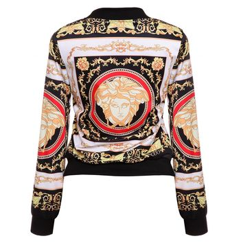 VERSACE Women Man Fashion Print Sport Shirt Top Coat Jacket Print