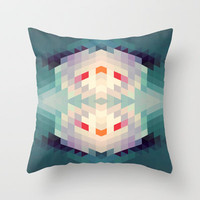 GeoAqua Throw Pillow by Deniz Erçelebi