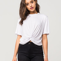 GOOD LUCK GEM Womens Knot Front Top | Knit Tops + Tees