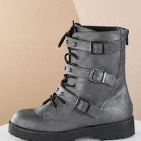 Lace Up Studded Strap Buckle Closures Combat Boots