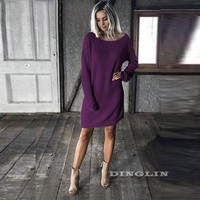 Casual Sweater Knitted Dress O Neck Long Sleeve