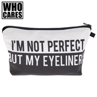 Perfect Eyeliner White 3D Printed Women Cosmetics Bags 2017 Neceser Organizer Maleta De Maquiagem Travel Makeup Bag Girls Pouch