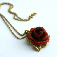 Red Rose Necklace on Gold Tone Link Chain
