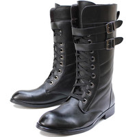 Black Leather Lace Up Knee High Guard of Honor Dress Riding Boots Men SKU-1280552