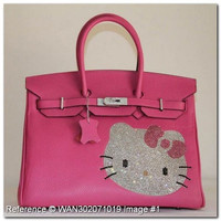 Hermes Birkin Rhinestone Hello Kitty Peachblow Leather Handbag 35cm