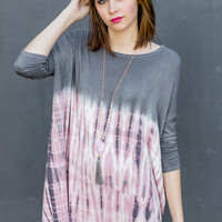 Over the Moon Tunic in Grey/Pink