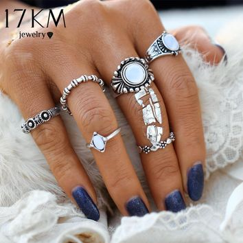 17KM Fashion Bohemia Vintage Opal Rings Set Ethnic Carving Tibetan Antique Silver Color Ring for Women Boho Beach Jewelry