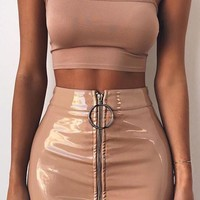 Zip It Beige PU Faux Leather Zipper Front Bodycon Mini Skirt - Sold Out