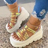 Summer Women Large Size Platform Waterproof Platform Wedge Shoes Sandals