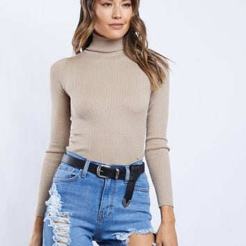 Keep It Sweet Ribbed Turtleneck