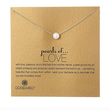 Dogeared - Pearls of Love White Pearl Necklace, Gold Dipped