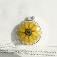 Chic Sterling Silver Necklace, Hand Painted Sunflower on the Light Green Background, Art Pendant with 17,7 inches Tiny Curb Chain