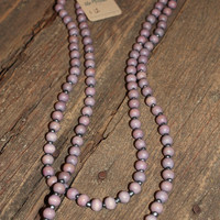 WOOD BEADED LONG NECKLACE