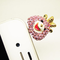 1PC Bling Crystal Goat Samsung S4 Cell Phone Earphone Jack Antidust Plug Charm Friend Gift