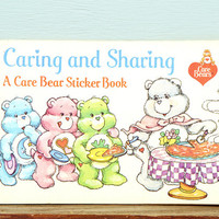 SALE Vintage Care Bears Sticker Book - Sharing is caring - A Care Bear Sticker Book - 1980's