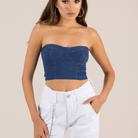 Do It In Denim Bustier Crop Top